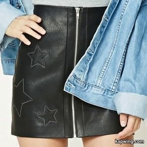 Faux Leather Mini Skirt with Embroidered Stars